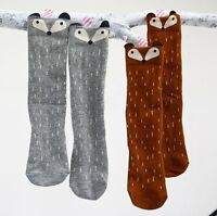 Baby Children Girls Lovely Fox Pattern Socks Soft Cotton Knee High Hosiery