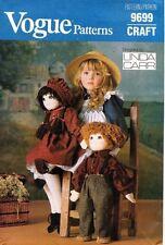 "1980's VTG VOGUE Stuffed Doll & Clothes Linda Carr Pattern 9699 Size 22"" UNCUT"