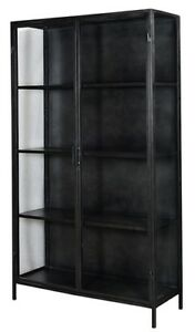 """78""""  Tall Frediano Cabinet Iron Frame in Gunmetal 2 Door 4 Shelves Glass Panels"""