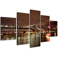 Quadri Moderni 200 x 90 cm Stampe su Tela Canvas XXL Quadro New York Bridge #084