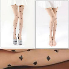 Sheer Beige Nude Pantyhose Poker Suits Faux Tattoo Wonderland Cosplay Tights OS