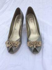 Metalic Grey Peep Toe Heels Lotus Size 7