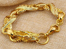 18k Yellow Gold Dragon Link Bracelet Men's Women's Wide 10mm Gift Pkg D215b
