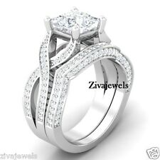 Certified 3.60 Ct White Princess cut Wedding Set Engagement Ring 14K White Gold