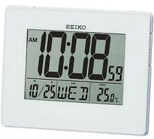 Seiko QHL057W Digital LCD White Snooze Calendar Thermometer Folding Alarm Clock