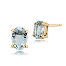 Pendientes de joyería con gemas de oro amarillo aguamarina