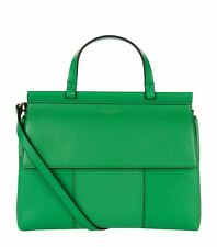 NWT IN PLASTIC Tory Burch Block T Leather Satchel  COURT GREEN /NAVY- $495 + tax