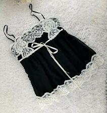 Fleurish black semi sheer camisole SIZE M white lace empire tie waist (V)