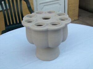 Nice West Elm Shane Powers designer flower frog vase, clay unglazed, NEVER USED