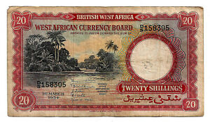 British West Africa 20 Shillings 1954 (D/S 158305)
