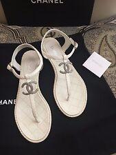NEW Chanel SIlver CC Logo Python Snakeskin Cream White Thong Sandals 36.5 / 6.5