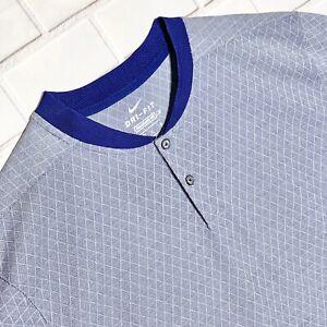 Nike DRI-FIT  Men's Blade Collar Golf Polo Shirt Henley sz L CI7911 482 Blue