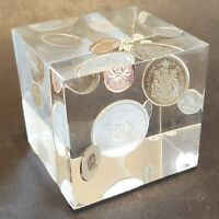 1964 Canada Silver Coin Set in a Lucite Cube Vintage Paperweight