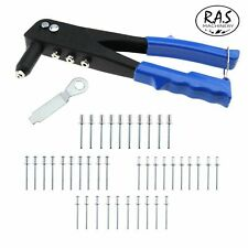 Heavy Duty Hand Pop Riveter Tool 4 Nozzle Head Rivet Gun 75 Assorted Rivets