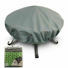 LIVIVO Premium Round Fire Pit Cover with Covered Air Vents and Elastic Hem - Grey (PC258)