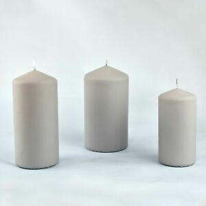 G Decor Henry Velvet Matt Light Grey Pillar Candles
