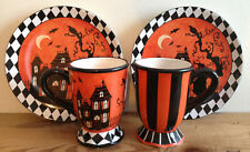 "Susan Winget Lot HALLOWEEN Coffee ""Mugs with Ribbon"" + Plates Set HAUNTED HOUSE"