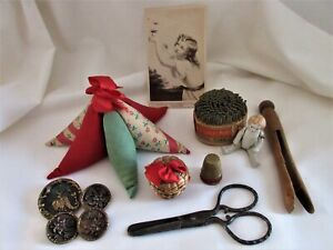 antique,vintage,sewing,LOT,pincushion,scissors,thimble holder,buttons,and more!