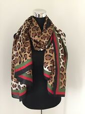 Designer Inspired Scarf 100% SILK Leopard Print Border Cool Long Pure Luxury NEW