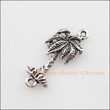 8Pcs Tibetan Silver Tone 1-1 Coconut Tree Charms Pendants Connectors 11x25mm