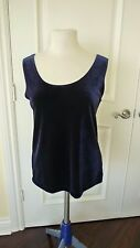 Chico's Layering Top size 2 M 12/14 Basic Velvet Midnight Blue New with tag