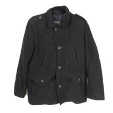 Guess Mens M Wool Blend Military Field Jacket Pea Coat Button Down Quilted Lined