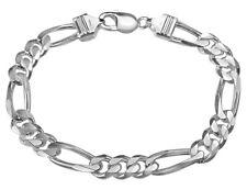 Мужской браслет Фигаро цепочка 9 дюймов (примерно 22.86 см) в серебро .925