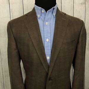 Hart Schaffner Marx 42R Brown Glen Check Wool 2-Button Single-Vent Sports Coat