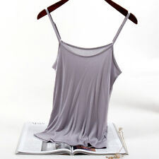 Ladies Silk Camisole Tank Top Vest Sleeveless Basic T-shirt Tops Solid Thin Soft