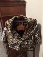 Womens Alfani Animal Print Faux Fur Bolero Shrug Stole Jacket Sz M Worn Once