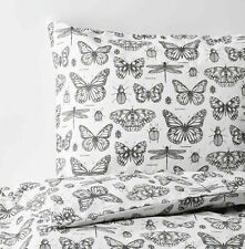 Ikea SOMMARMALVA Queen Duvet Cover w/ Pillowcase  White Gray Butterfly