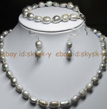 Natural 9-10mm Baroque Silver Freshwater Pearl Necklaces Bracelet Earrings Set