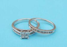 Princess Diamond Cluster Wedding Set w/ 12 Round Diamonds - .925 Sterling Silver