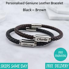 Miami Brown Black Leather & Stainless Steel Mens Personalised Engraved Bracelet