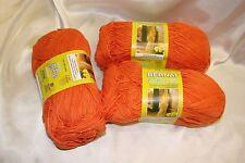 3 Skeins Bernat Cotton-ish Cotton Harvest Orange Yarn #3 Cotton Acrylic Blend