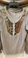 Free People Womens gray Top Gold Sequins large