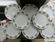 """8 - Vintage Christmas China WHITE w/ Holly Berries Dinner Plates 10"""" Gold Rim"""