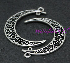 Tibetan Sliver jewelry finding Charm pendant hollow out Moon 10-100pcs 45x34mm