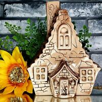 Vintage Haunted House Wall Pocket Planter Wicked Witch Halloween Mansion