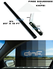 "DNF WINDOW TINT DYED FILM  BLACK 5% 20"" X 10 FT (FREE SQUEEGEE + KNIFE)"