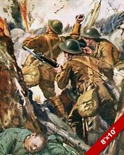 ALLIES IN TRENCH WARFARE GRENADE WWI WORLD WAR 1 ART PAINTING REAL CANVAS PRINT