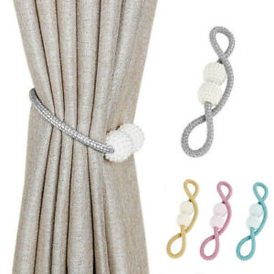 2Pcs Magnetic Curtain Tie Backs Grey Holdbacks Buckle Curtain Clips Rope Straps