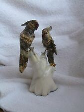 2 COCKATOO TROPICAL BIRDS NESTING ON STONE TREE  HANDCRAFTED