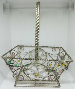 """Silver Chrome Metal Wire Basket Square With """"Jewels"""" Free USA Shipping Flower"""