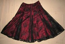 fe1d869f79 LUCKY&COCO Black Mesh Net Lace Layer A Line Gothic Panel Flare Boho Skirt S  NWOT