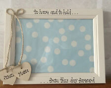 Wedding Engagement personalised Photo Frame Wooden Cream Hearts 5 x 7 in