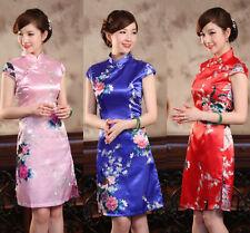blue red Chinese Style  women'ssilk/satin  Dress/Cheong-sam sz:S M L XL XXL