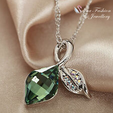 18K White Gold Plated Made With Swarovski Element Leaf & Fruit Fresh Green Set