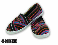 Womens Stripes Canvas Shoes Slip Ons Casual Sneakers Kicks Footwear Tennis Flats