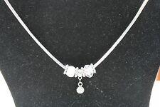 """Silver tone Crystal Bead Mixed Metals 18"""" Necklace Hand-Crafted"""